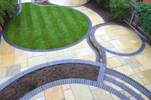 Example of our Derby Garden landscaping Service patio and path with artificial grass