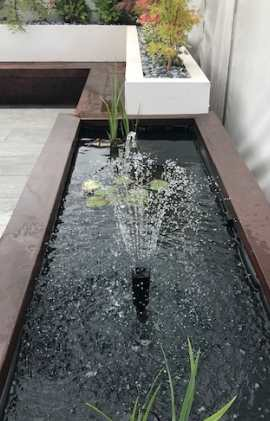Finished water feature installed in garden