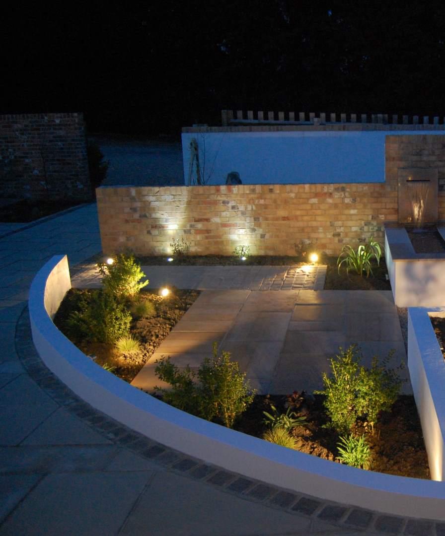 Outdoor lighting design in derby garden