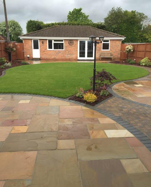 Rear garden designed patios Derby example sml